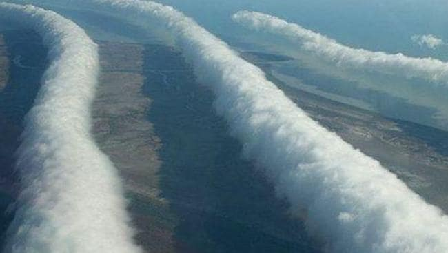 The giant Morning Glory clouds have been compared to waves, tumbling through the sky, cotton wool rolls and huge cigars. Picture: Mick Petroff.