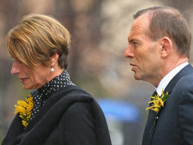 Tony Abbott and his wife Margie arrive at the church. Photo: Scott Barbour/Getty Images