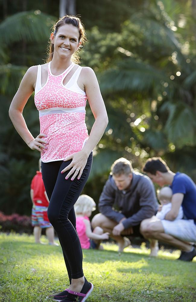 Fitness guru and author Sharny Kieser, 33 at home with her family.