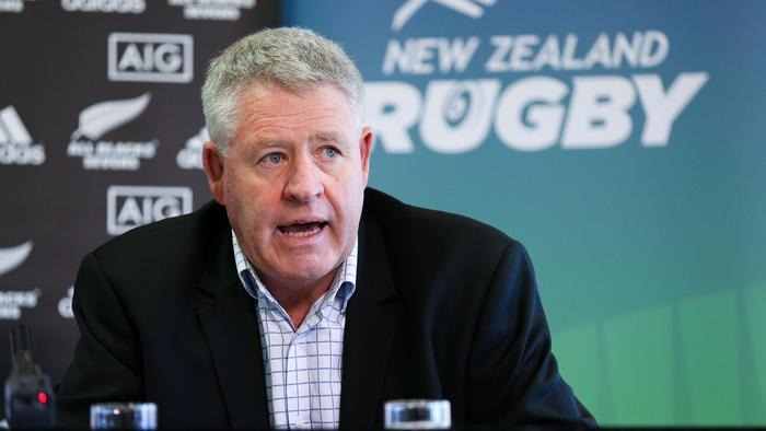 WELLINGTON, NEW ZEALAND - AUGUST 19: NZRU CEO Steve Tew speaks to media during the All Blacks Sevens 2015/16 squad announcement at Westpac Stadium on August 19, 2015 in Wellington, New Zealand. (Photo by Hagen Hopkins/Getty Images)