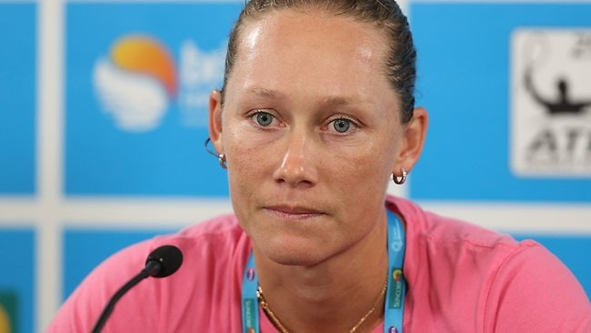 Sam Stosur speaks to the media after her shock first-round loss at the Brisbane International.
