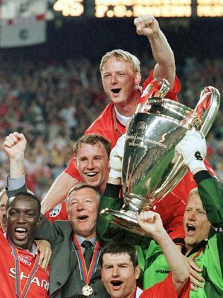 This was Fergie winning the 1999 Champions League in Barcelona. (AP Photo/Cesar Rangel, File)