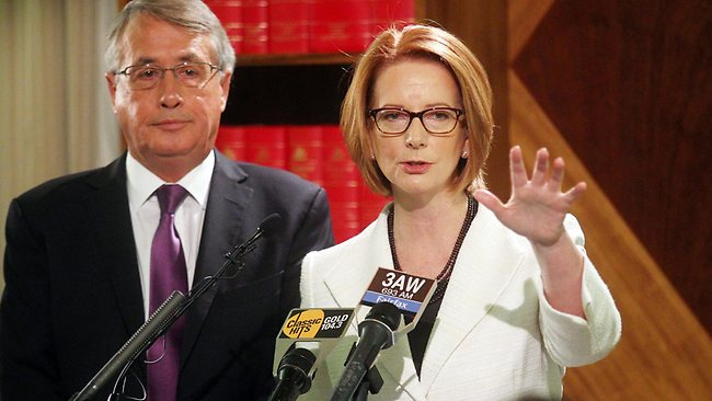 Prime Minister Julia Gillard, with Treasurer Wayne Swan, announces the plan to increase to the Medicare levy to help fund the National Disability Insurance Scheme. Picture: Aaron Francis