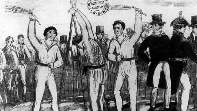 An 1836 drawing of a prisoner being flogged with a cat-o'-nine-tails.