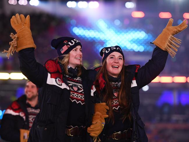 Keaton McCargo and Jaelin Kauf of the United States march during the Opening Ceremony. Picture: Quinn Rooney/Getty Images