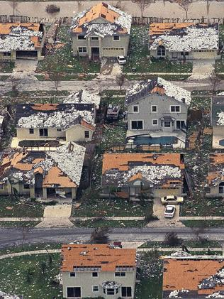 This 1992 photo shows pictures of houses destroyed by Hurricane Andrew in 1992. It led to stricter building codes and Irma could be the biggest test of those yet. Picture: AP Photo/Mark Foley, File.