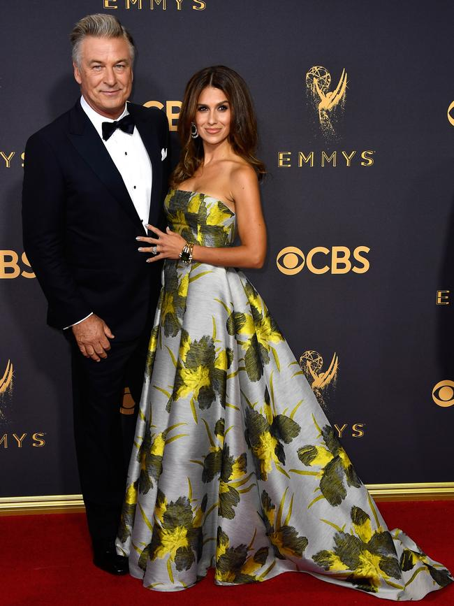 Alec Baldwin and Hilaria Baldwin attend the 69th Annual Primetime Emmy Awards at Microsoft Theater on September 17, 2017 in Los Angeles. Picture: Getty