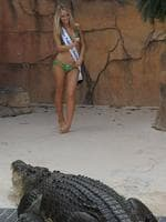 <p>We like to keep our Miss Tourism Australias on their toes as  Holly-Anne Visser finds out.</p>  <p>Visser keeps her eye on the star attraction at Crocosaurus Cove Darwin, Burt, who was the star of <em>Crocodile Dundee</em>. Picture: Justin Sanson</p>