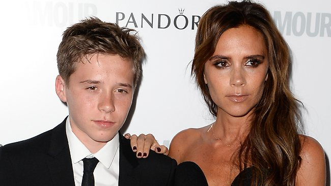 Victoria Beckham took 14-year-old son Brooklyn as her date to the Glamour Women of the Year Awards in London. Picture: Getty
