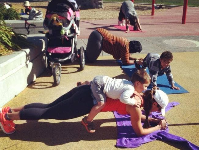 Should this be a daily sight in Australia's parks ... Mums working out with their toddlers. Picture: Facebook.