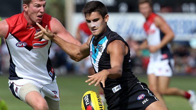 Port Adelaide's Chad Wingard gets his kick away yesterday. Picture: Sarah Reed