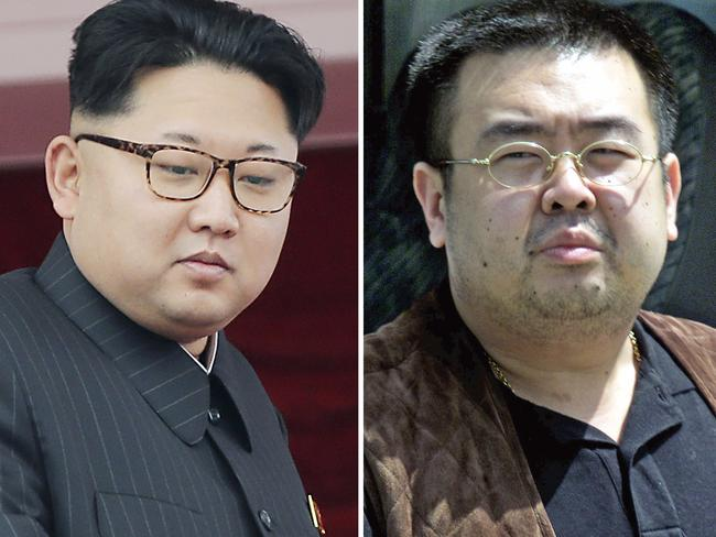 North Korean leader Kim Jong Un and Kim Jong Nam, right, the murdered half brother of Kim Jong Un, in Narita, Japan, on May 4, 2001. Picture: AP