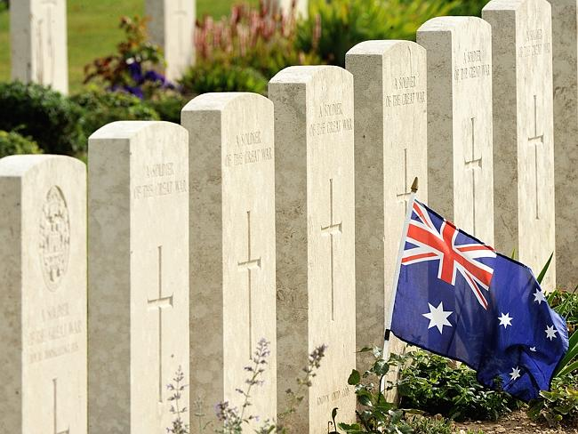 The immeasurable cost of war ... the graves of Australian soldiers fallen during the World War I in Villers Bretonneux.
