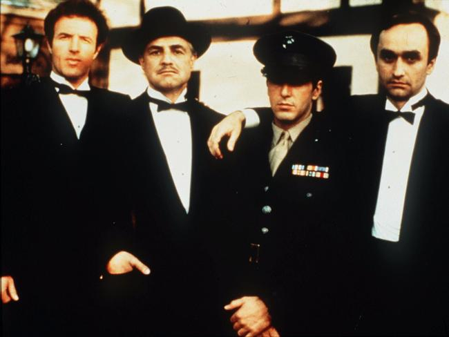 Perfect casting ... Left to Right, James Caan, Marlon Brando, Al Pacino and John Cazale in  <i>The Godfather</i>.