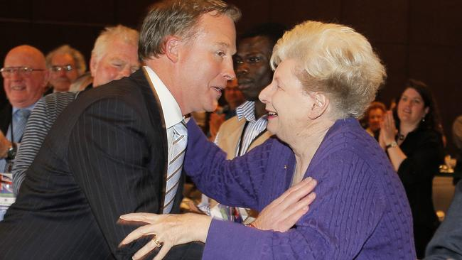 Liberal leader Will Hodgman greets Edyth Langham on his arrival to the State Liberal Conference at Wrest Point in 2013.