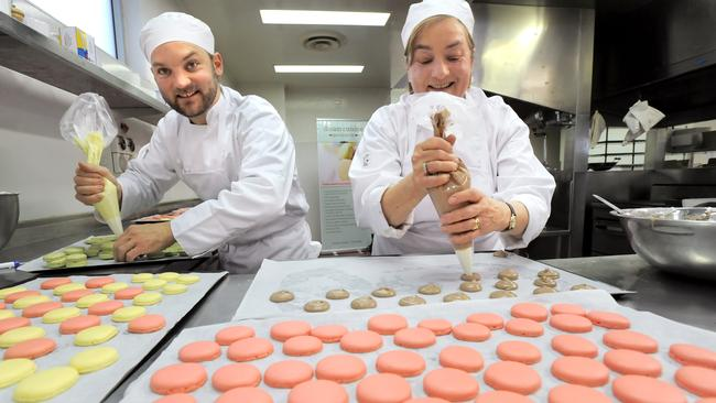 Madame Macaron with son Owen King of Tarts. Picture: Supplied