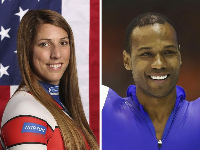 Erin Hamlin, left, and Shani Davis. Picture: AP