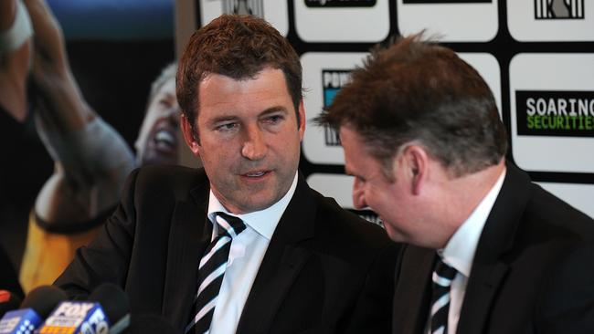 Former Port Adelaide chief executive Mark Haysman, seen here announcing his resignation in 2011, could be in line for a role with the Crows.