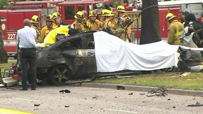 Hastings' car at the scene of the accident.