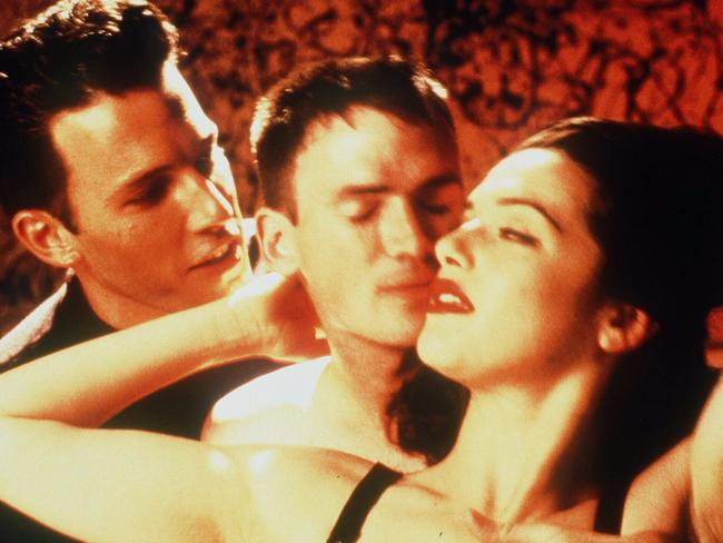 Ben Affleck, Jeremy Davies and Rose McGowan in the movie, Going All The Way. McGowan recently called Ben Affleck a liar for saying he didn't know about Harvey Weinstein. Picture: Supplied