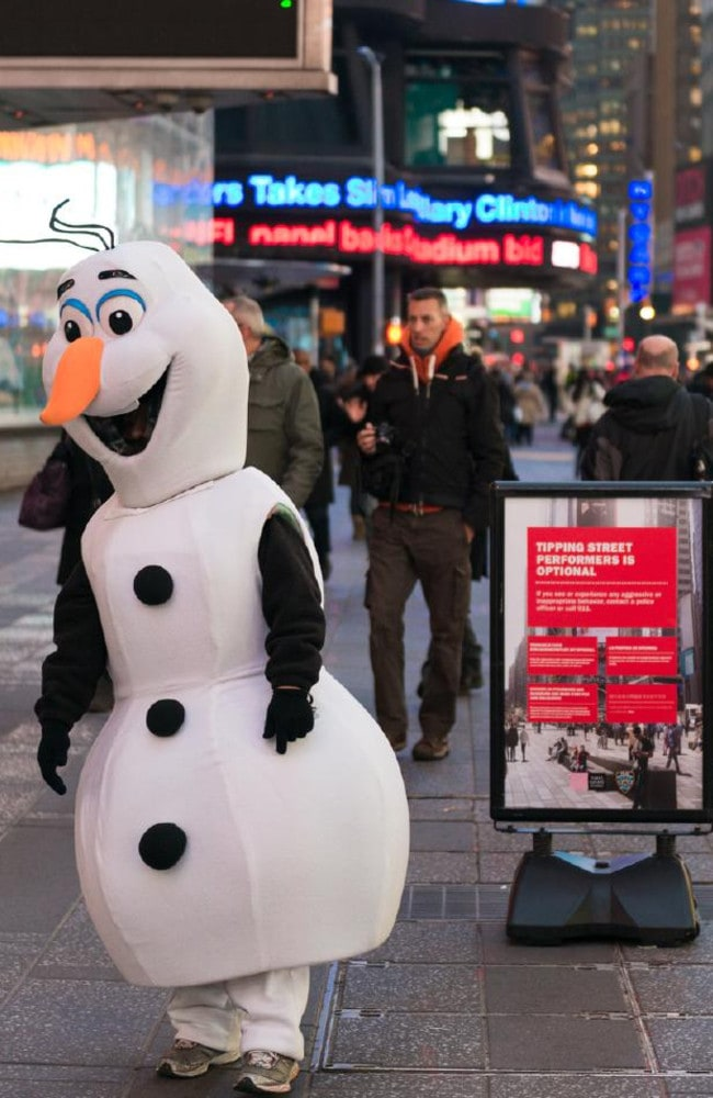 Olaf is ready for his close up in Times Square. Picture: iStock