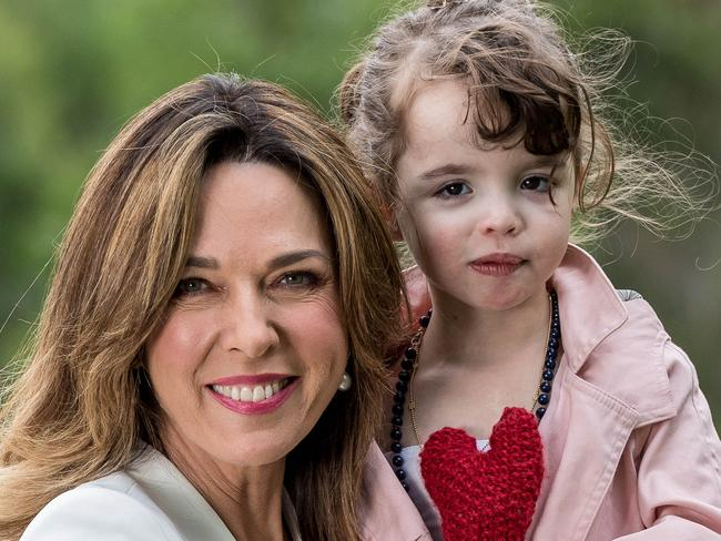 Jennifer Keyte with Arielle, 4, the face of the 2018 Good FridayAppeal. Picture: Jake Nowakowski