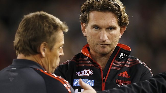 Essendon coach James Hird with assistant Mark Thompson. Picture: Wayne Ludbey