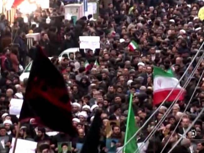 Iranians chanting slogans as they march in support of the government in the northwestern city of Zanjan. Picture: AFP