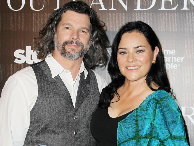 Executive producer Ronald D. Moore and author Diana Gabaldon at an Outlander event in New York. Picture: AP