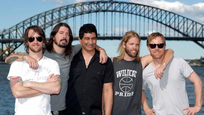 Foo Fighters ... performed on Goat Island in Sydney Harbour to launch their last album Wasting Light. Picture: Adam Ward