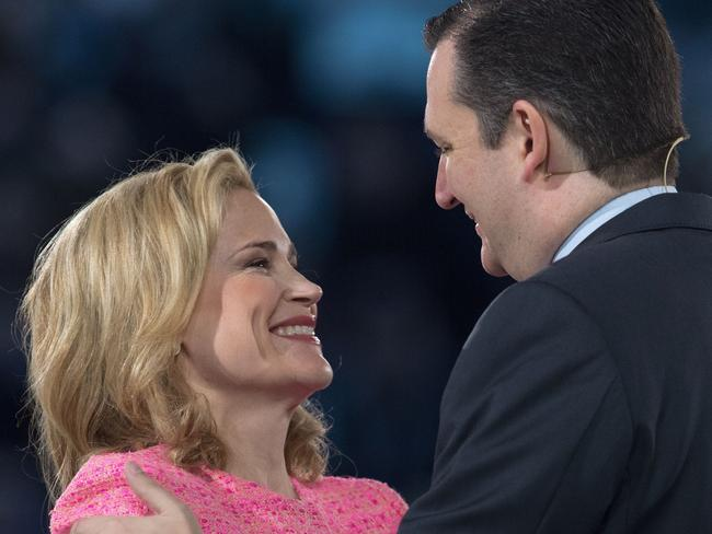 US Senator Ted Cruz as he embraces his wife Heidi.