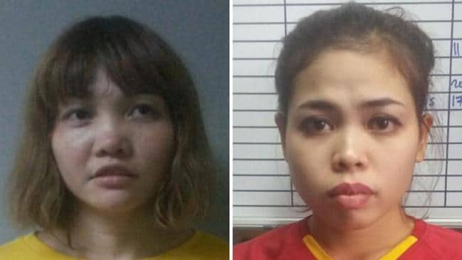 Doan Thi Huong of Vietnam (L) and Siti Ashyah of Indonesia (R), were charged with the murder of Kim Jong-Nam, the half brother of North Korean leader Kim Jong-un. Picture: AFP / Royal Malaysian Police.