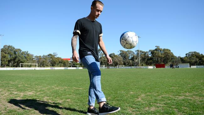 WA Socceroo Adam Taggart returned home to Perth after the World Cup. Picture: Daniel Wilkins.