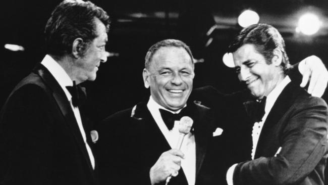 Frank Sinatra, centre, with Jerry Lewis and Dean Martin in 1976.