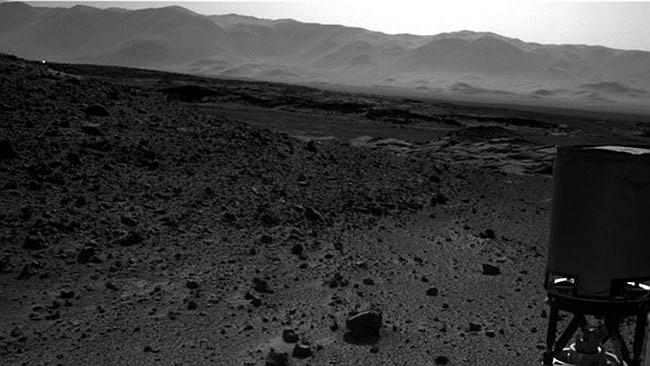 Here's another shot of it, in case you were wondering. A speck of light can be seen flaring upwards from the hillside on Mars. Credit: Nasa/JPL-Caltech