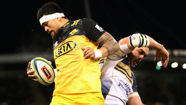 Vaea Fifita of the Hurricanes wins line out ball against the Brumbies on Friday night.