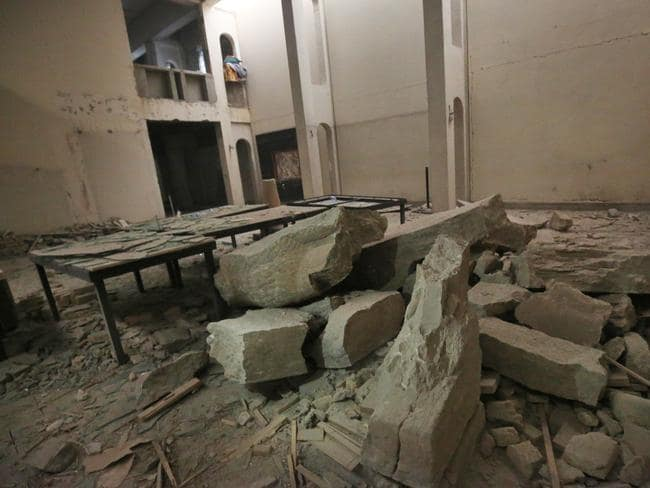 A general view shows the damage inside the destroyed museum of Mosul. Picture: Ahmad Al-Rubaye