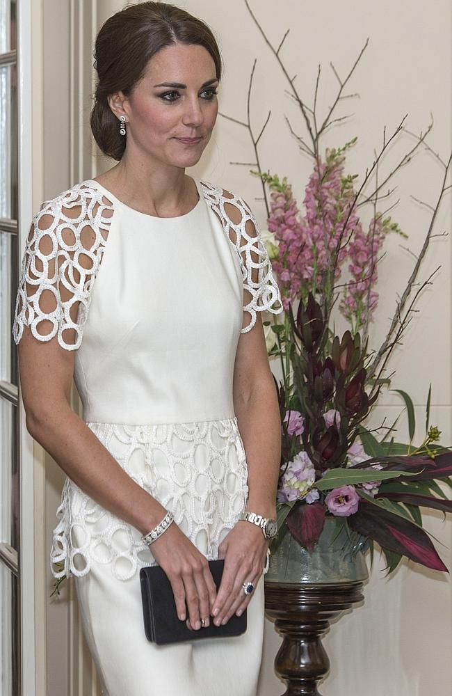 Stunning look ... Catherine, Duchess of Cambridge at Government House last night.