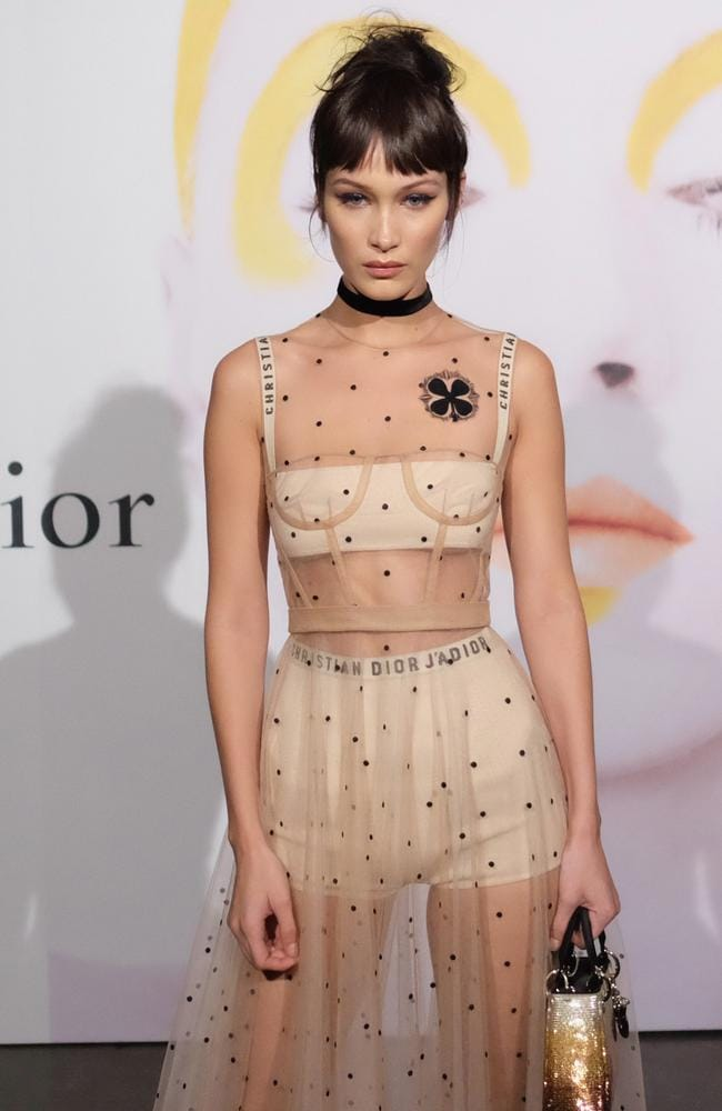 International model Bella Hadid in the famous Dior underwear, which is visible through her dress. Picture: Nicholas Hunt/Getty Images for Dior Beauty/AFP