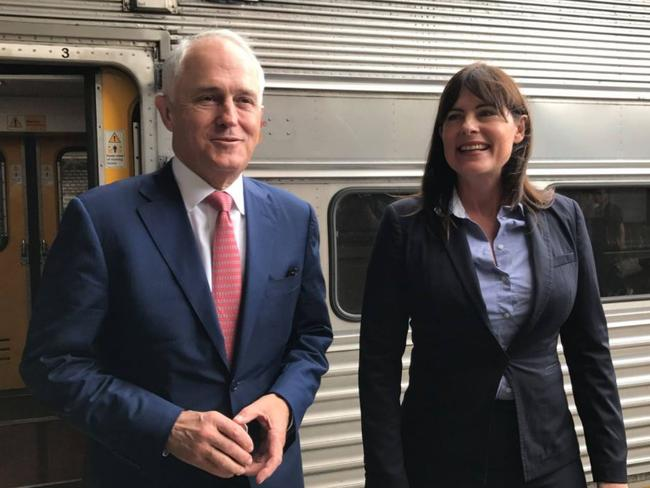 Malcolm Turnbull and Robertson MP Lucy Wicks in Gosford today. Picture: Central Coast Express Advocate
