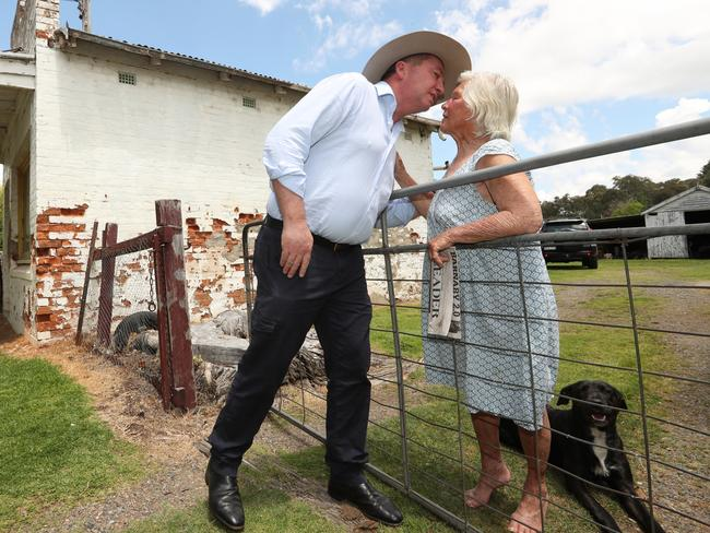 Former Deputy PM Barnaby Joyce on the campaign hustings has a surprise meeting with an old friend Mrs Jill Skewes. Picture: Lyndon Mechielsen/The Australian