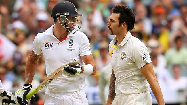 Kevin Pietersen and Mitchell Johnson exchange words during the Boxing Day Test. Picture: Colleen Petch