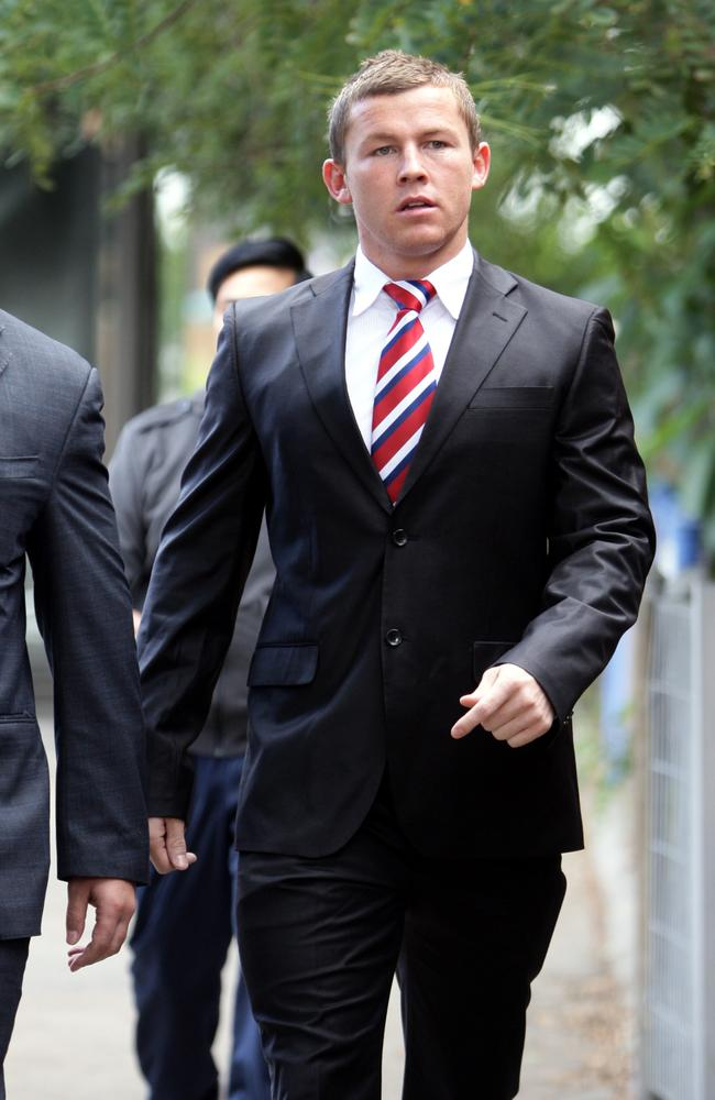 Todd Carney leaving Local Court at Waverley in Sydney where he was found guilty of low range drink driving in 2011.