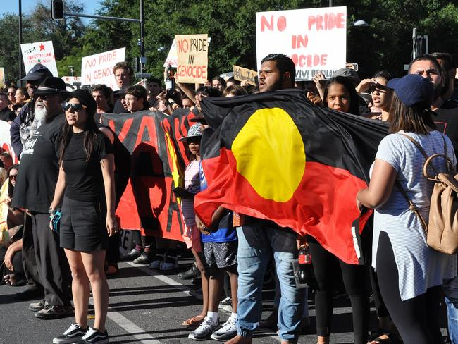 Aboriginal activists are seen during an Australia Day protest in Adelaide, Thursday, Jan. 26, 2017. Picture: Tim Dornin/AAP