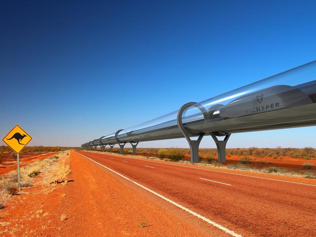 An artist's impression of VicHyper's Hyperloop. Source: Supplied