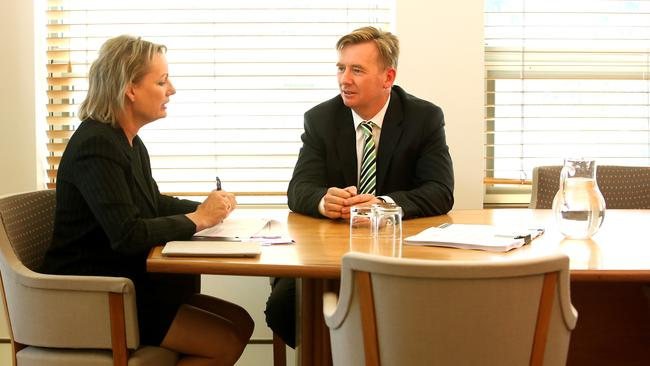 Heavy talks .. Associate Professor Brian Owler, President of the Australian Medical Association (AMA) meeting with the Health Minister Sussan Ley at Parliament House in Canberra. Picture: Kym Smith