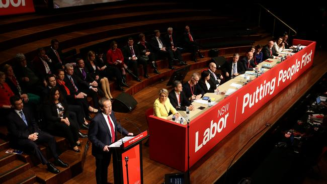 Labor leader Bill Shorten addresses the NSW Labor State Conference at Sydney Town Hall. Picture: Stephen Cooper