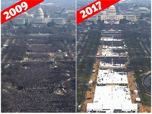 Shot of the crowd from former president Barack Obama's inauguration (left) and President Trump's (right). President Trump has accused the media of lying about how many people attended his inauguration. Picture: AP