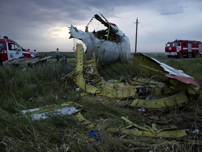 Fire engines arrive at the crash site of MH17 near the village of Hrabove, Ukraine, as the sun sets. Picture: AP