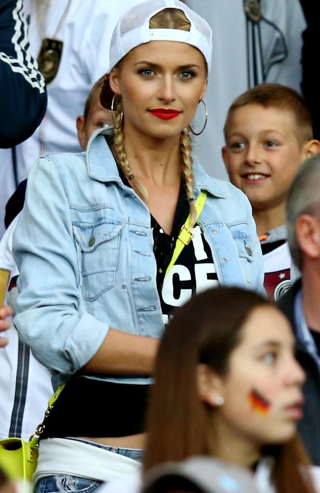 Lena Gercke, girlfriend of Sami Khedira, who came on late in the match.